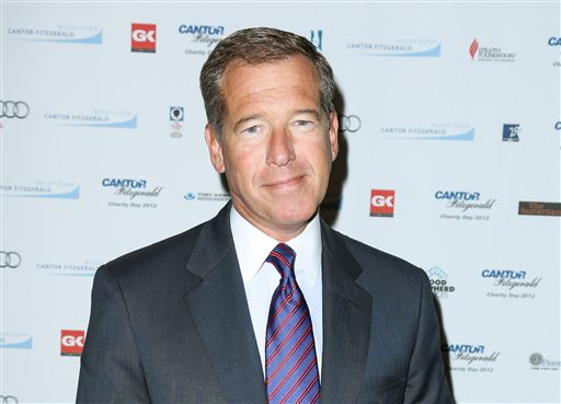 FILE - This Sept. 11, 2012 file image released by Starpix shows Brian Williams at the Cantor Fitzgerald Charity Day event in New York. NBC _NBC _92507