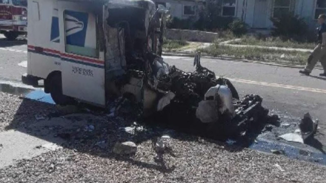 Fire Destroys Postal Service Truck In Roswell