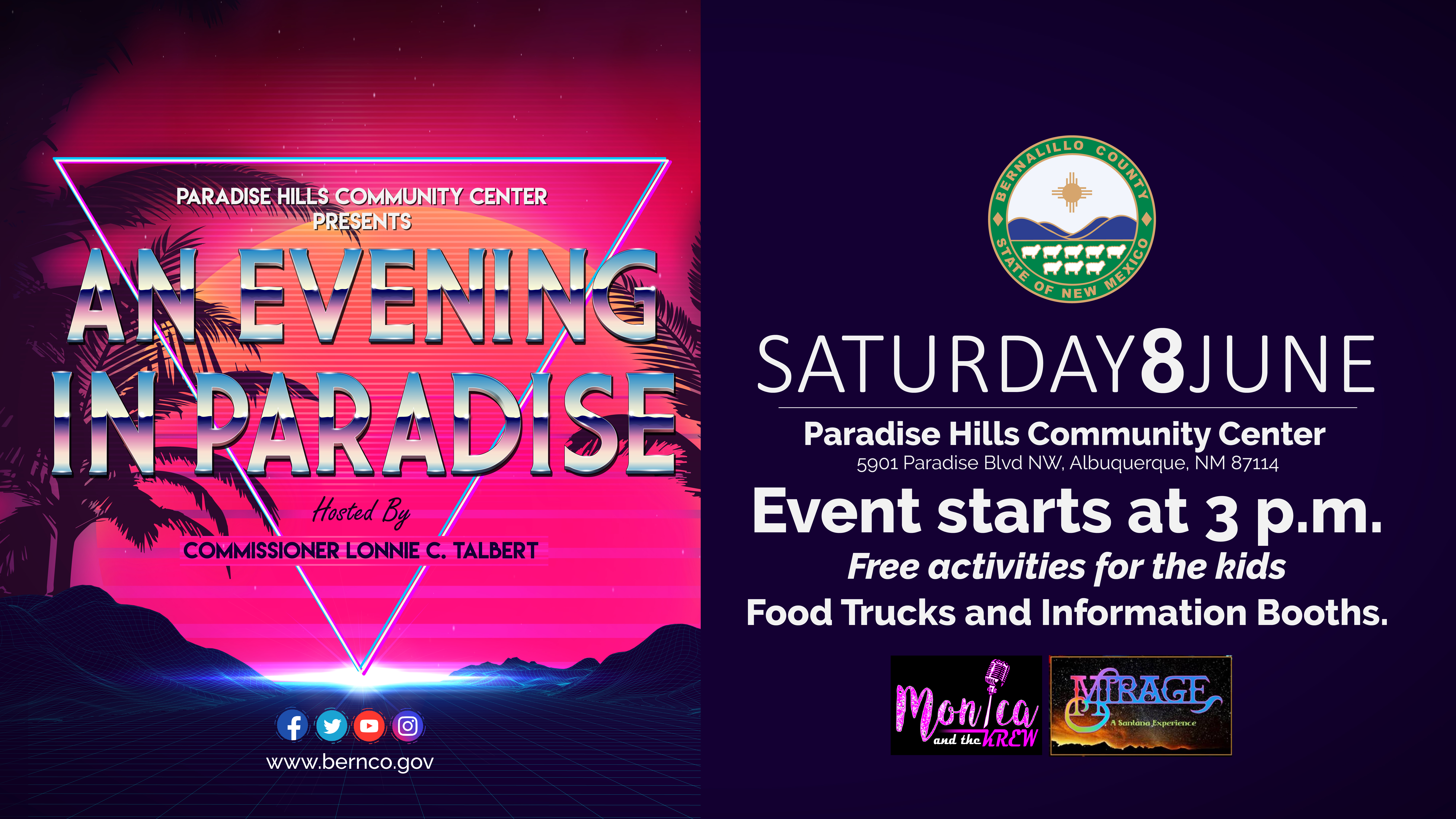 An 'Evening in Paradise' takes place at Paradise Hills Park