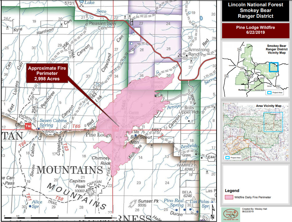 Pine Lodge Fire burns approx. 15,044 acres in Lincoln National ...