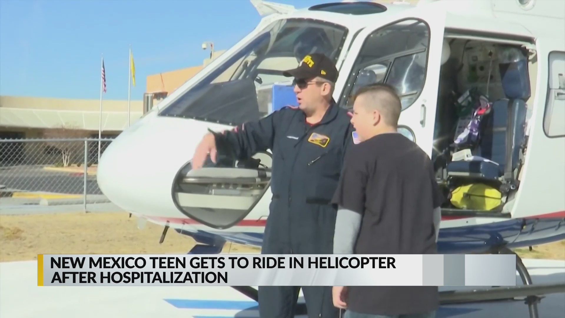 New Mexico teen rides in helicopter after hospitalization