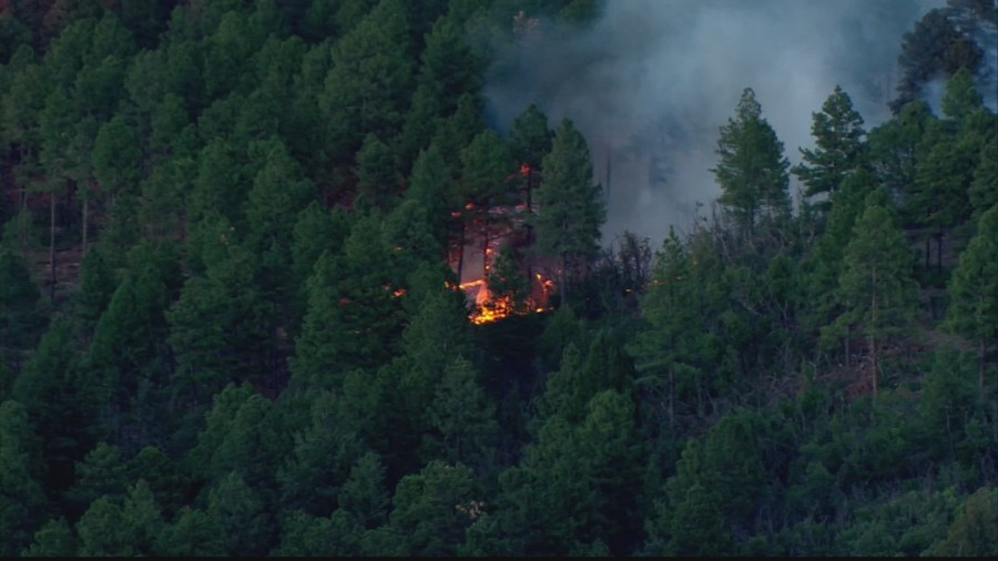 Sky News 13 flies over fire burning in Manzano Mountains near Chilili. July 8, 2020