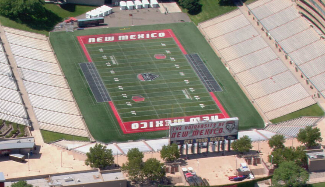 File photo of the University of New Mexico Lobo football field, Dreamstyle Stadium | Courtesy of Sky News 13