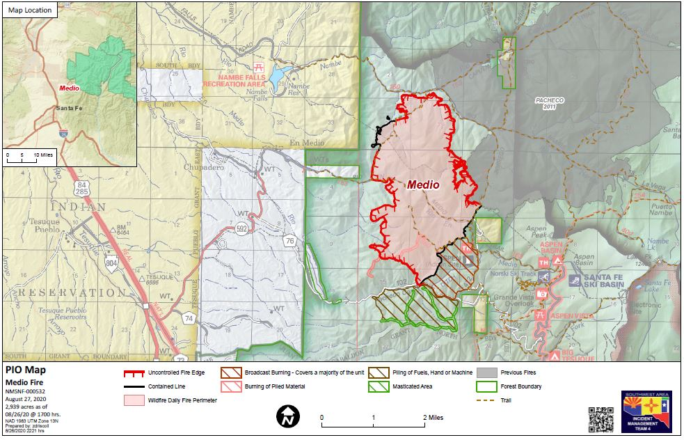 Medio Fire Grows To Approximately 4 010 Acres In Santa Fe National Forest 100 Contained Krqe News 13