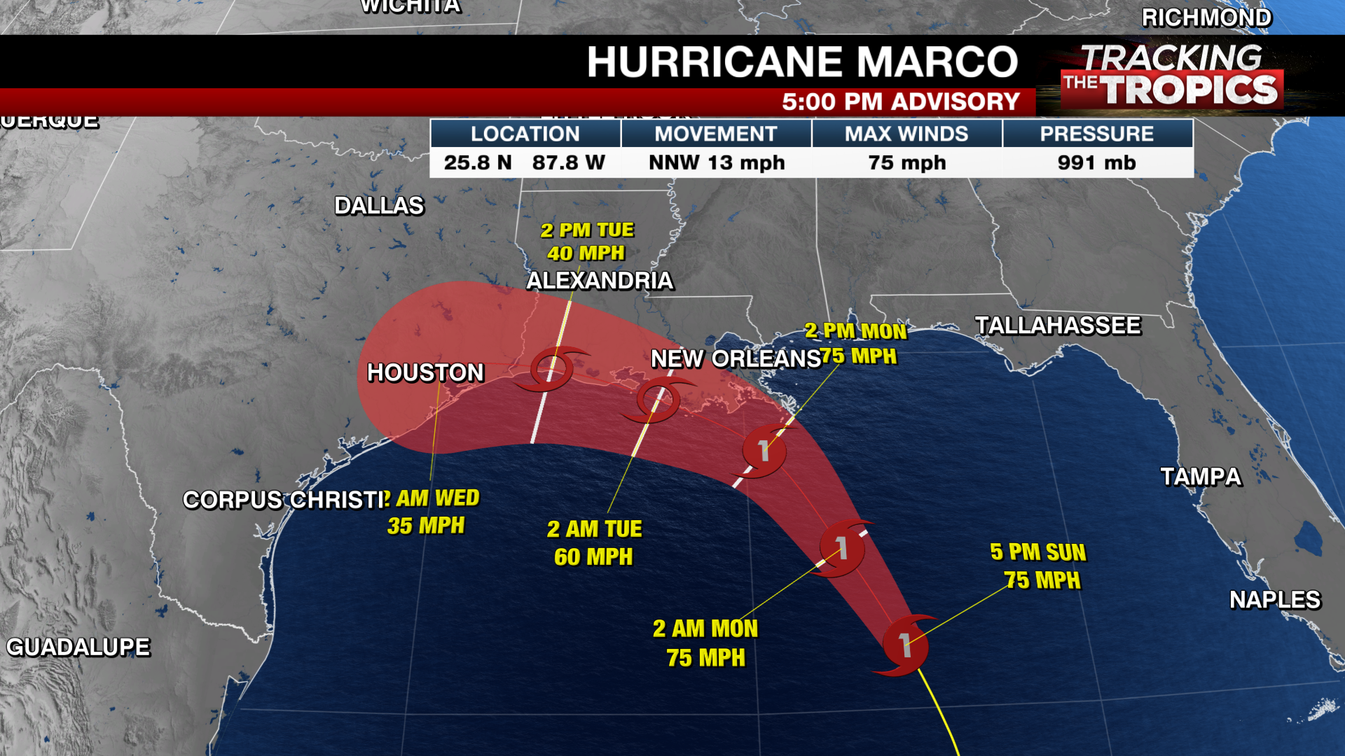 Tracking The Tropics Marco Weakens To Tropical Storm As It Moves Over The Gulf Laura Continues To Strengthen Krqe News 13