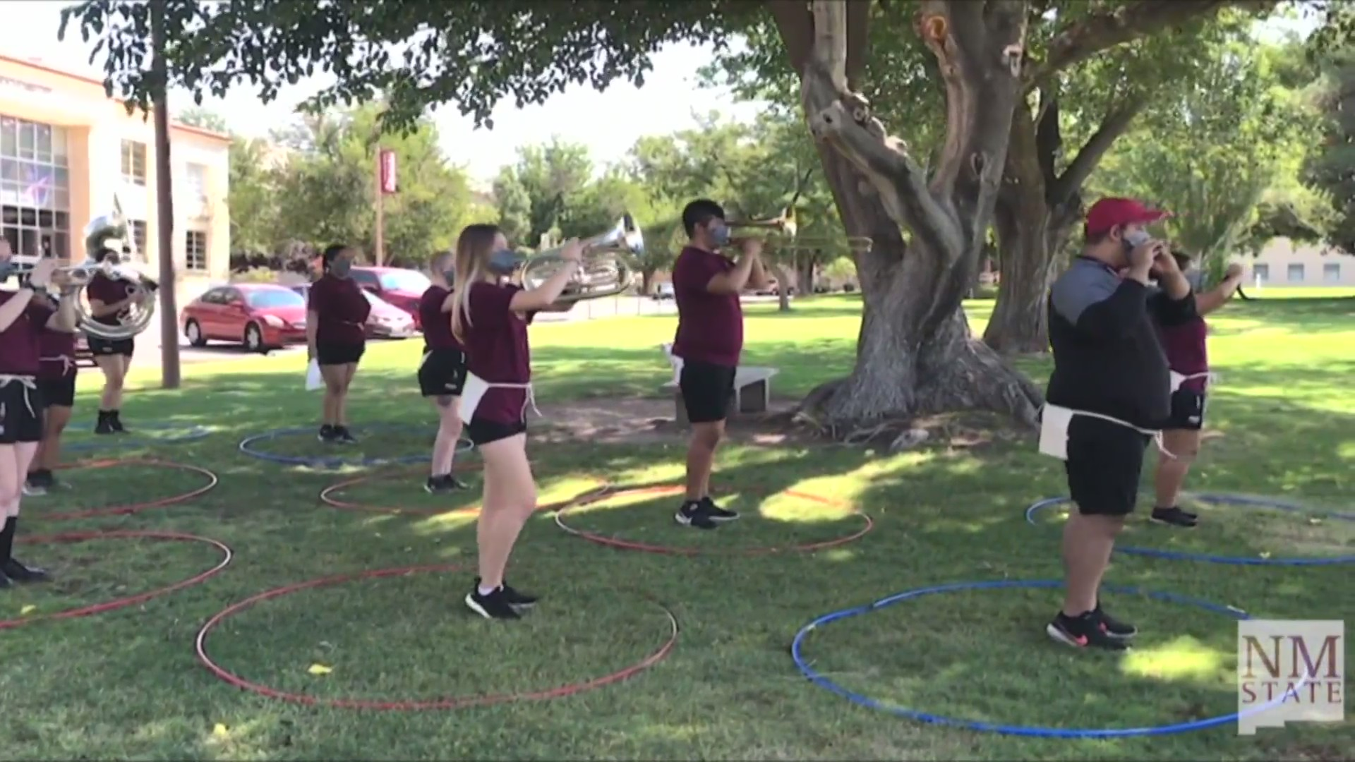 Nmsu Marching Band Creates Masks With Opening For Instruments
