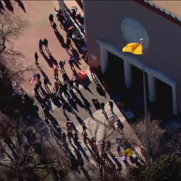Demonstrators at Santa Fe Capitol January 5, 2021