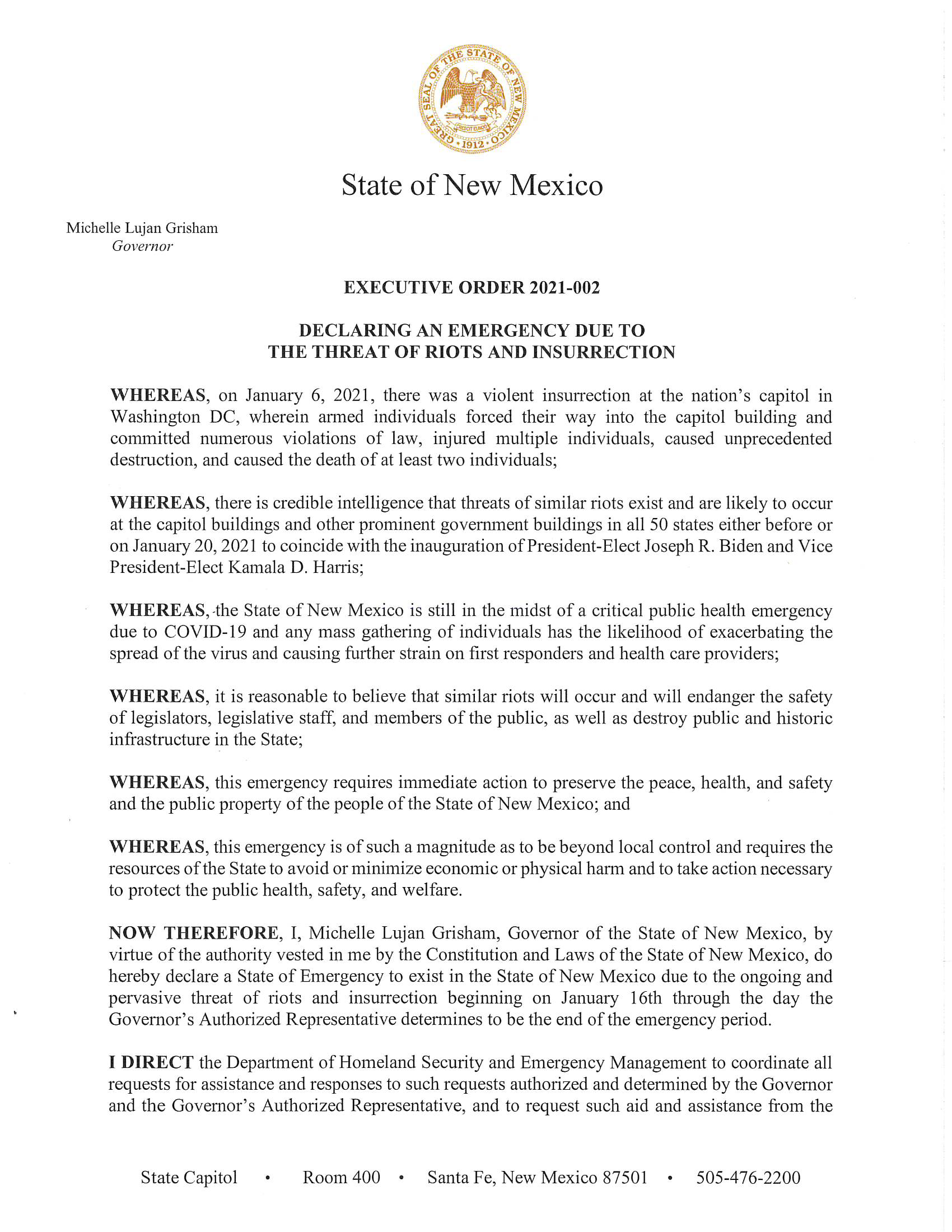 Executive Order threat of riots January 14, 2021 Page 1 of 2