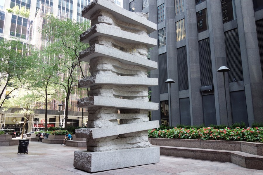 "Jesús Moroles ""Lapstrake"" 1987 in CBS Plaza across from the Museum of Modern Art. Photo by the author for Hyperallergic"