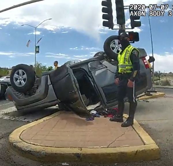 Rio Rancho Police respond to crash on July 7, 2020 on 528 & Sara Road that left Jeep upside down.