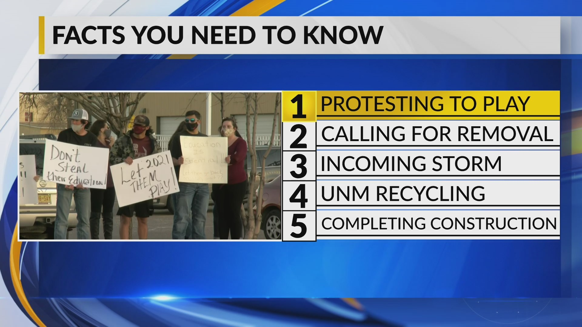 krqe.com - Allison Keys - KRQE Newsfeed: Protesting to play, Calling for removal, Incoming storm, UNM recycling, Completing construction