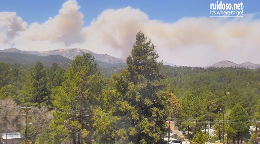 Smoke from Three Rivers Fire Monday, April 26, 2021, as of 12:41 p.m. Courtesy of Ruidoso.net