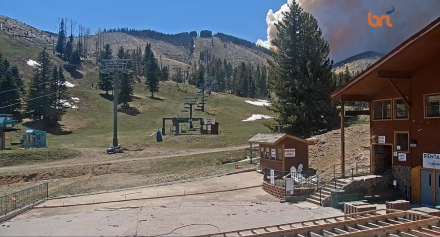 View of Three River Fire from Ski Apache Webcam 2:24 pm April 26, 2021