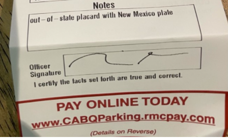 Albuquerque woman challenges law prohibiting out-of-state handicap placards